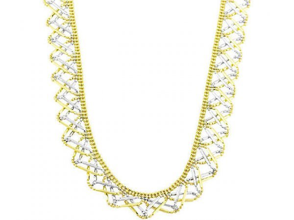 3030: 14k Two-tone Gold Beads and Bars Wavy Necklace