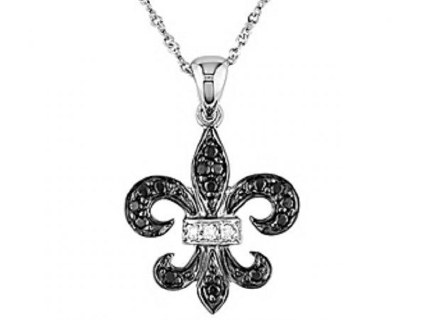 3033: 14k Gold Diamond Fleur de Lis Necklace