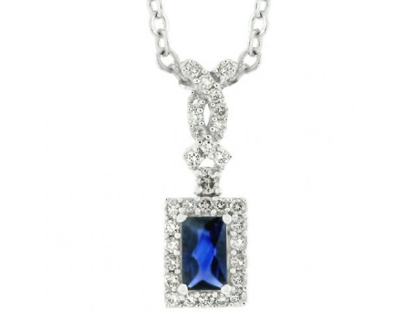 3034: 14k Gold Sapphire and 1/5ct TDW Diamond Necklace