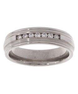 3037: Titanium and Silver Channel 1/4ct TDW Diamond Rin