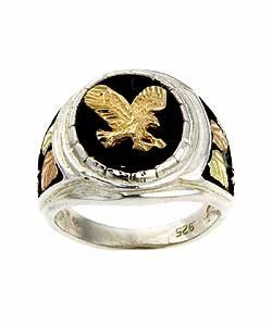 3038: Black Hills Gold Silver Onyx Eagle Ring