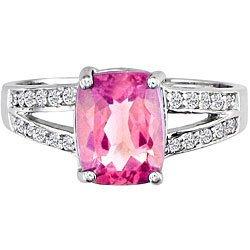 3039: 14k Gold Pink Topaz and 1/6ct TDW Diamond Ring