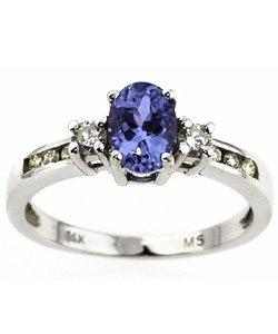 3040: 14k Gold Tanzanite .25ct TDW Diamond Regal Ring