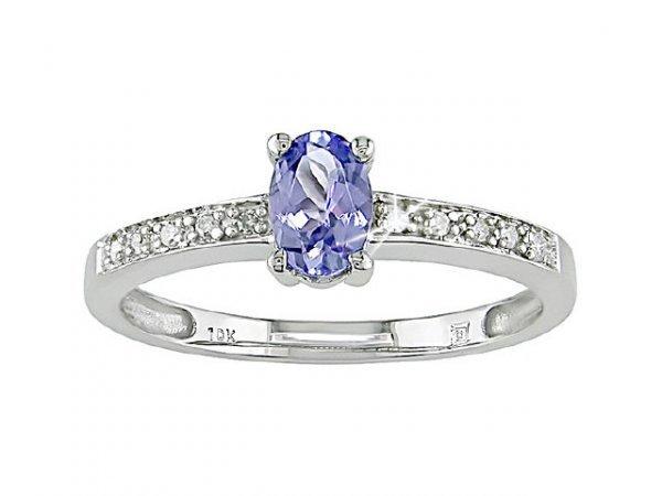 3041: 10k White Gold Tanzanite and Diamond Ring