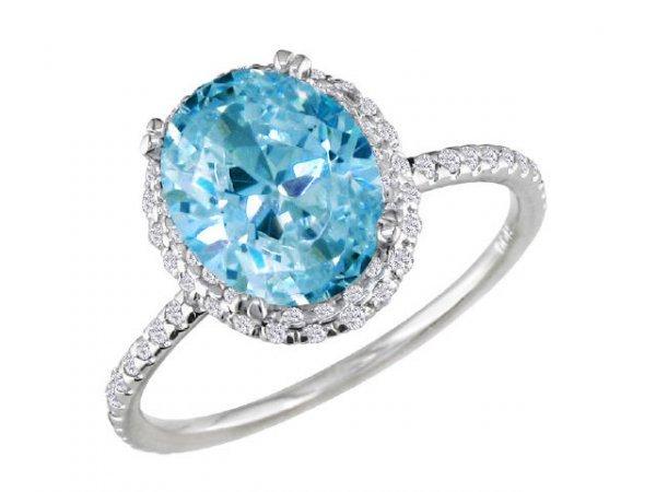 3042: 14k White Gold 1/2ct TDW Diamond Blue Topaz Ring
