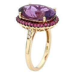 3043: Stunning Amethyst , Ruby & Diamond Ring