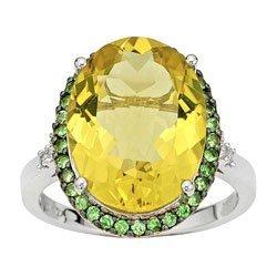 3044: Garnet Diamond and Lemon Quartz Ring