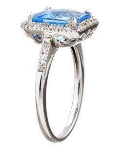 3047: 14k Gold Blue Topaz and 1/3ct TDW Diamond Ring