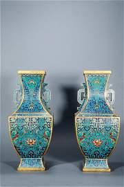 Qing dynasty, pair of cloisonné vase H40cm W17cm