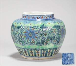 Colored Branch Grain Jar From Qing  清代