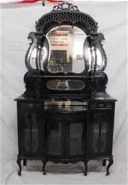 Unusual Antique Carved Ebony Bow Front Etagere