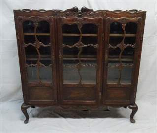Antique Walnut Country French Triple Door Bookcase