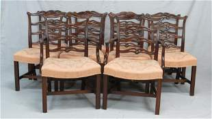 Set of 10 Vintage Ribbonback Dining Chairs