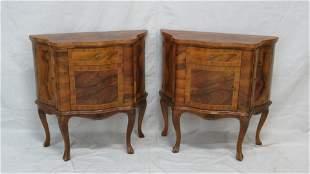 Pair of Venetian Burl Walnut Inlaid Nightstands