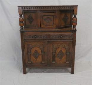 Early Antique English Carved Oak Court Cupboard