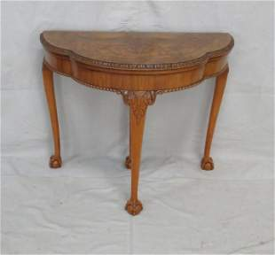 Burl Walnut Chippendale Game Table