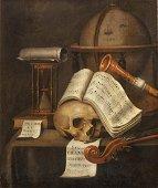 """Edward Collier (1640-1708), """"Vanité avec partition en"""