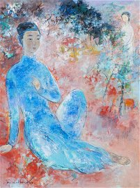 """Vu Cao Dam (1908 - 2000) """"Le Poète"""" huile sur toile"""