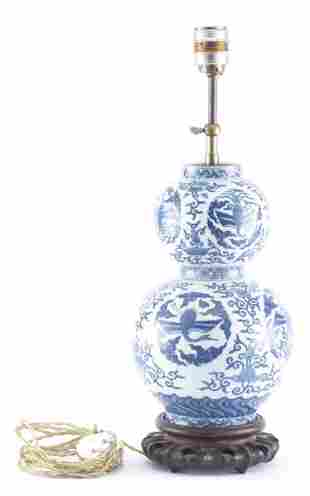Vase double gourde en porcelaine de Chine, marque Wanli