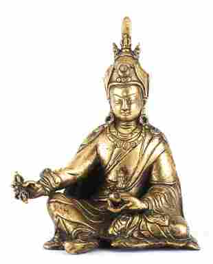 Lama du Tibet assis en bronze doré, XIXe