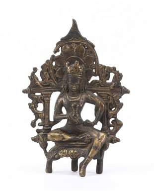 Bouddha (Buddha) en bronze à patine brune,