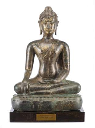 Buddha Thaï Sakyamuni (Maravijaya) en bronze à