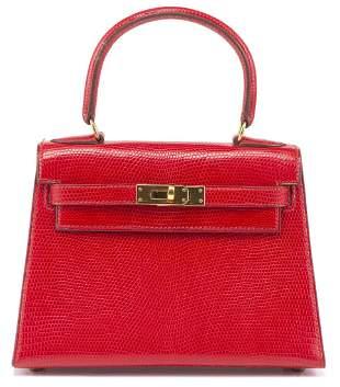 Hermès, mini Kelly 20 en cuir de Lézard rouge