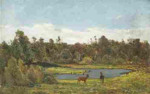 """Paul GAUGUIN (1848-1903) """"Paysage aux chevreuils, 1876"""""""