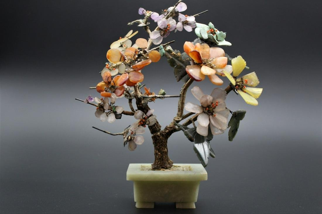 Chinese agate ,amethyst , turquoise and jade tree