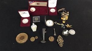 Oddities Pocket Watch, Snuff Bottle, Coins,