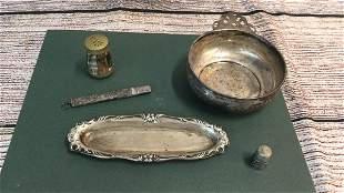 Sterling Porridge Dish, Tray, Thimble, Pencil and