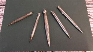 5 Sterling Writing Instruments One stamped Sheaffer