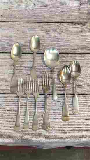 9 Pieces Plated and Coin Flatware