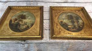 Two Van Ros Oil on Copper Paintings Landscape with