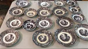 18 Pieces Mulberry Transferware Saucers, small plates,