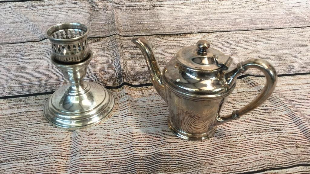 Sterling Candleholder and Nickle Silver Cream