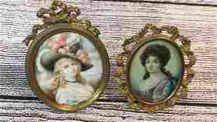 2 Miniature Portraits of Women