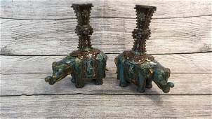 Pair Cloisonné Elephant Form Candle Holders