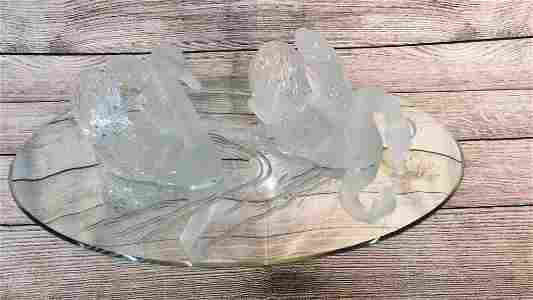 Pair Signed French Lalique Crystal Swans on Mirror