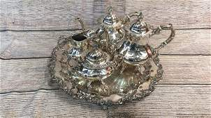 4 Piece Sterling Tea Set Silver on Copper Tray