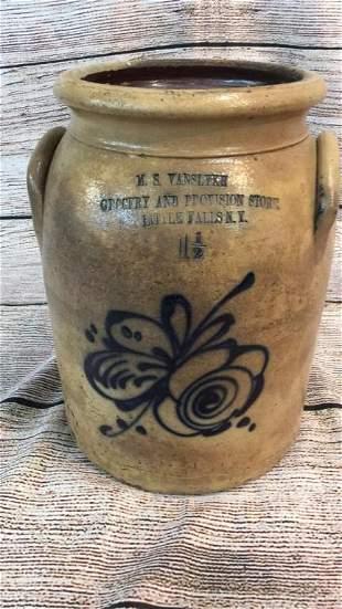 Unusual 1 1/2 Gallon Salt Glaze Crock