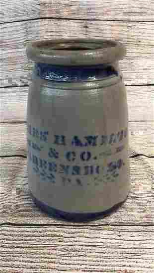 Salt Glaze And Cobalt Canning Jar