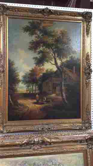 Oil on Canvas, House and Men Sitting on Log