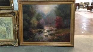 Oil on Canvas Scenic Landscape w/ River