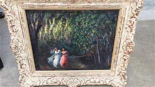 Oil on Canvas, Women on Tree Lined Path