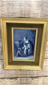 Delft Style Wall Plaque in Frame, Mother and