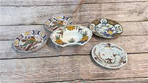 5 Pieces Italian Or French Ceramic Plates