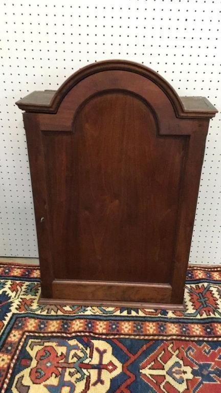 Early Hanging Walnut Cabinet W Tombstone Door