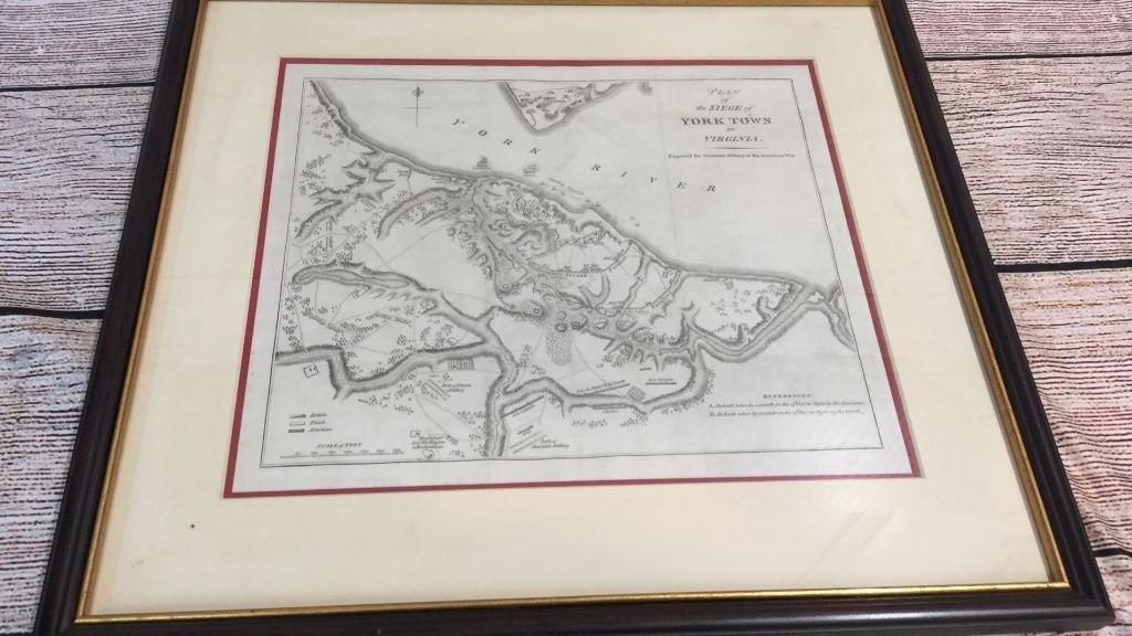 Framed Engraving, Plan of Siege of York Town