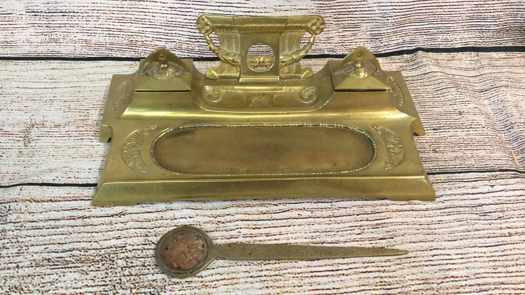 Brass Art Nuevo Inkwell & Letter opener W Jade
